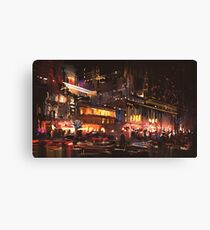 Modern Nightlife Digital Painting Canvas Print