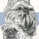 Brussels Griffon Father & Son by BarbBarcikKeith