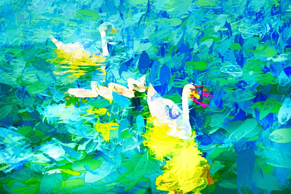 Swans Impasto Abstract by Kay Brewer