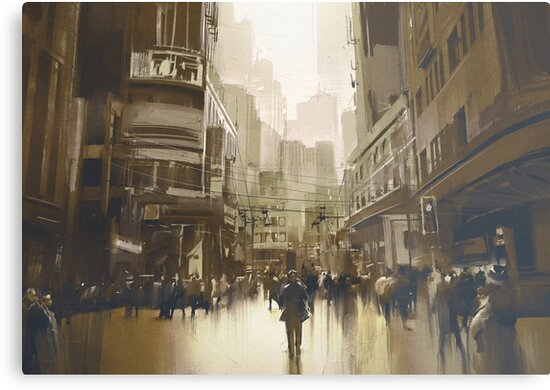 Sepia City Painting by bFred
