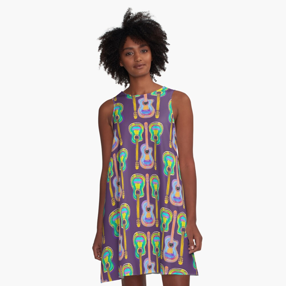 Colorful Guitar T-Shirt for Music Lovers A-Line Dress Front