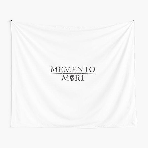 Latin Inspirational Phrase: Memento Mori (black text) with skull Tapestry
