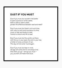Dust If You Must Photographic Print
