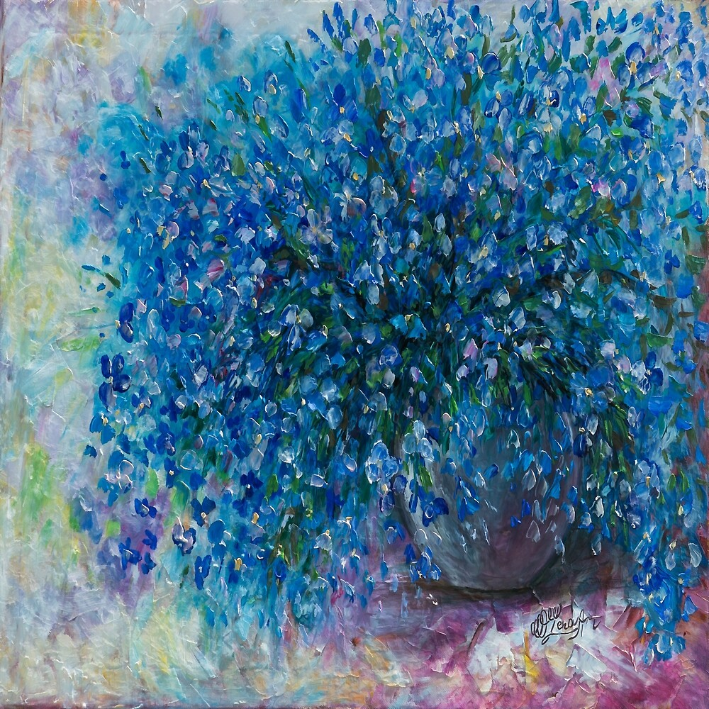 Bouquet Of Forget Me Nots - 2 by OLena Art - brand