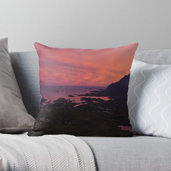 Sunset in Norway Throw Pillow