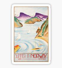 Vintage Travel Poster – Summer in Norway Sticker