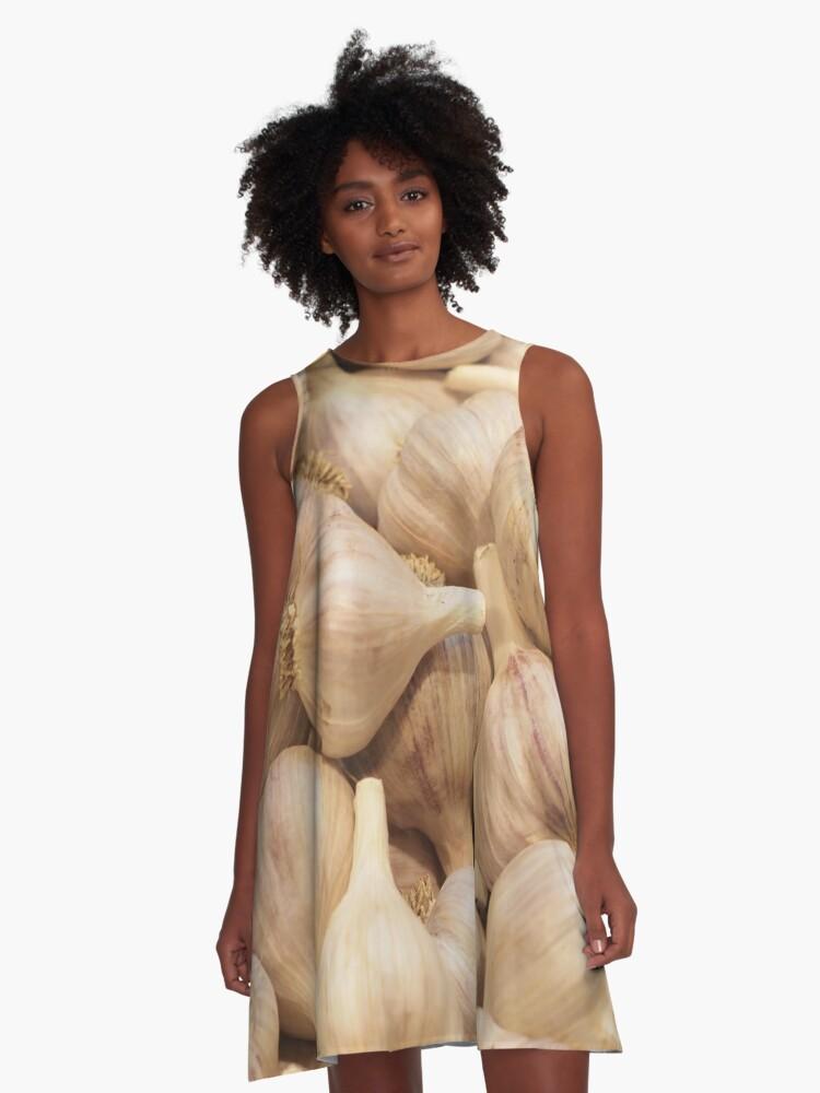 Garlic Pattern - Dress, Sticker, Pillow, Cell Phone Case A-Line Dress Front