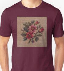 Rose Needlepoint against Taupe Unisex T-Shirt