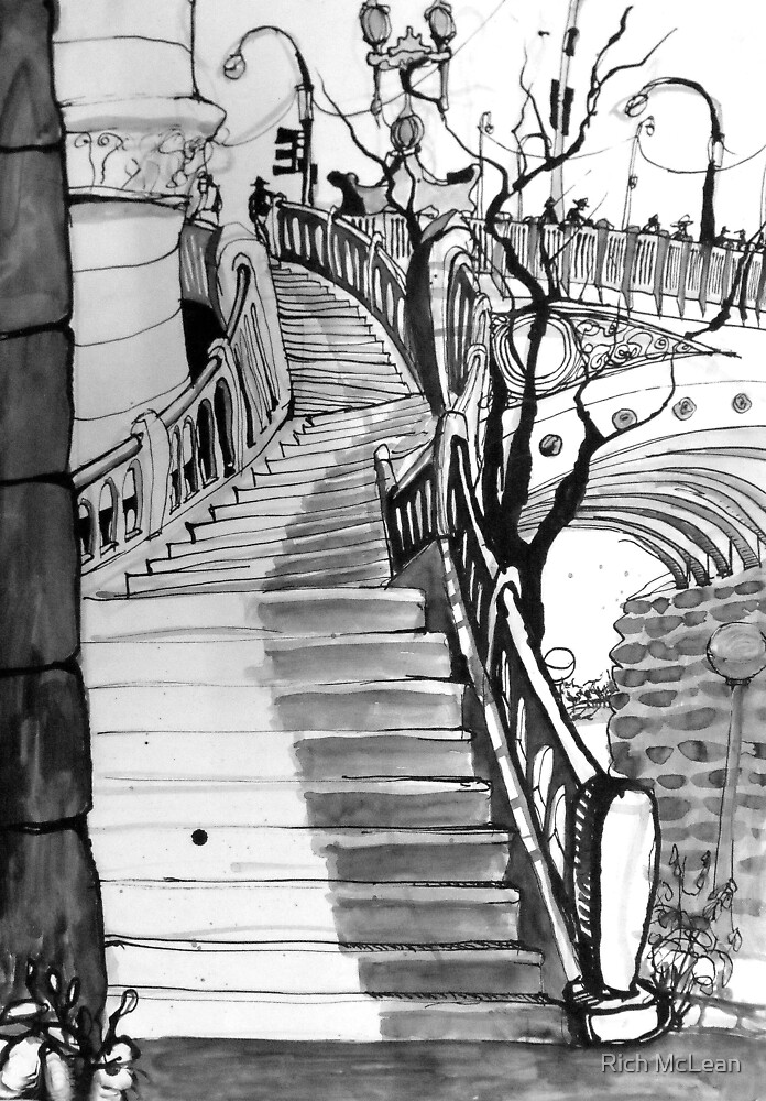 Stairs from the Yarra River to Flinders Street Station by Rich McLean