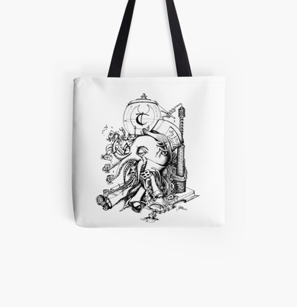 Cthulhu Loves Absinthe Tea All Over Print Tote Bag