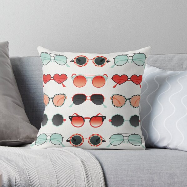 Sunglasses Collection – Red & Mint Palette Throw Pillow