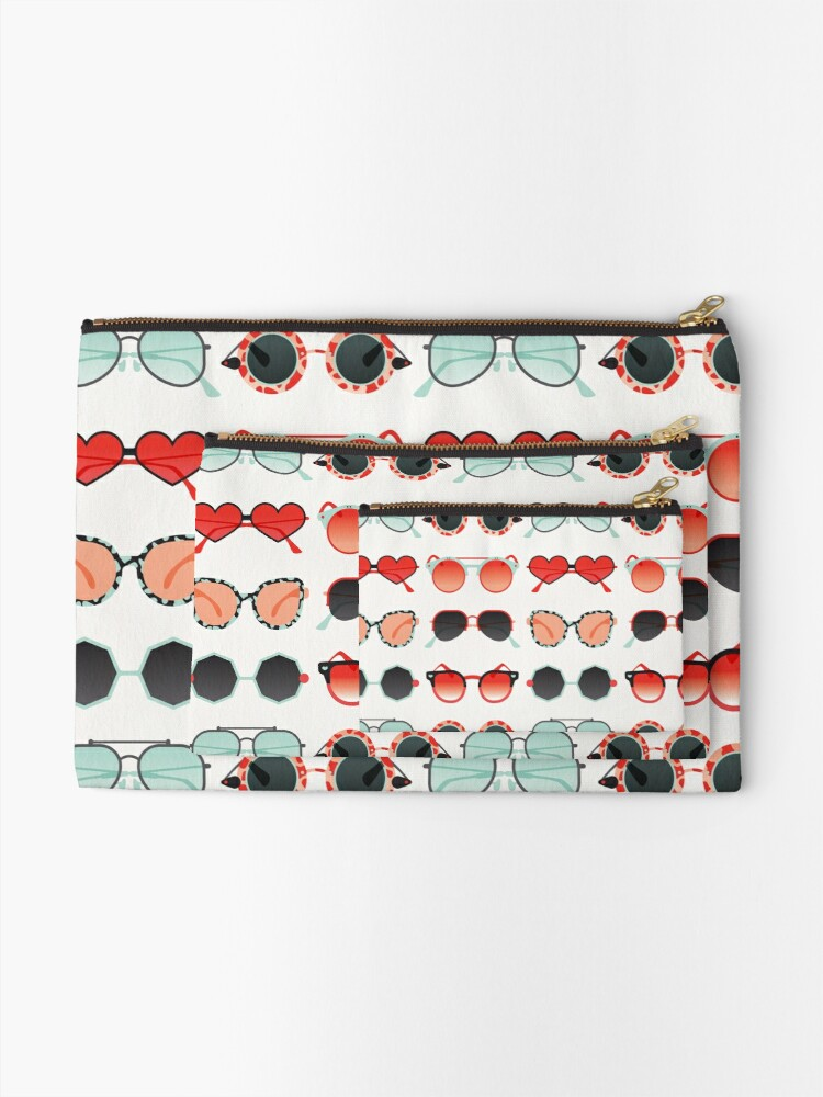 Alternate view of Sunglasses Collection – Red & Mint Palette Zipper Pouch