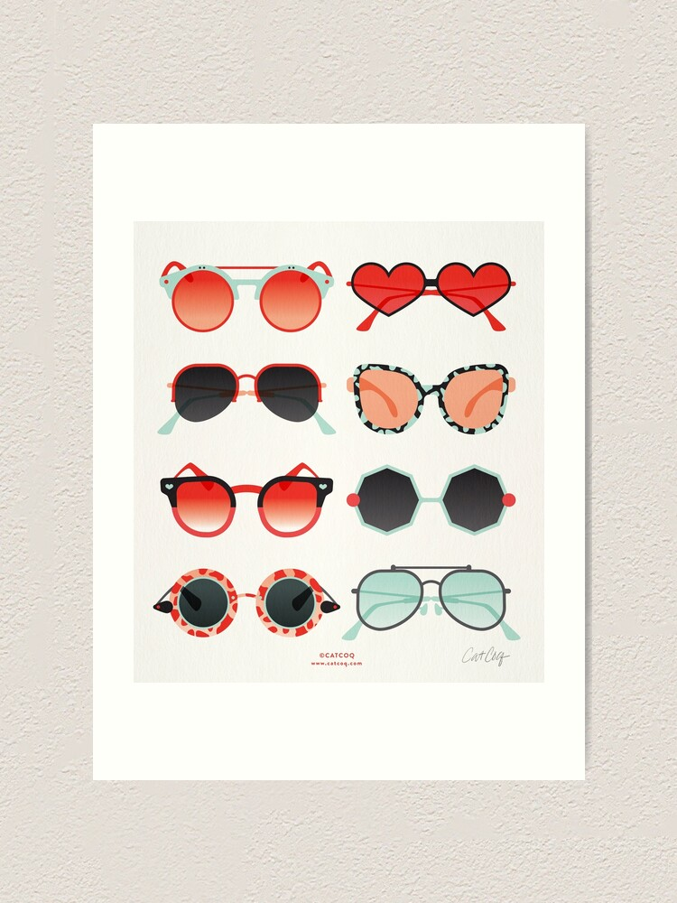 Alternate view of Sunglasses Collection – Red & Mint Palette Art Print