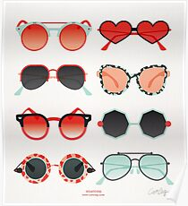 Sonnenbrille Kollektion - Red & Mint Palette Poster