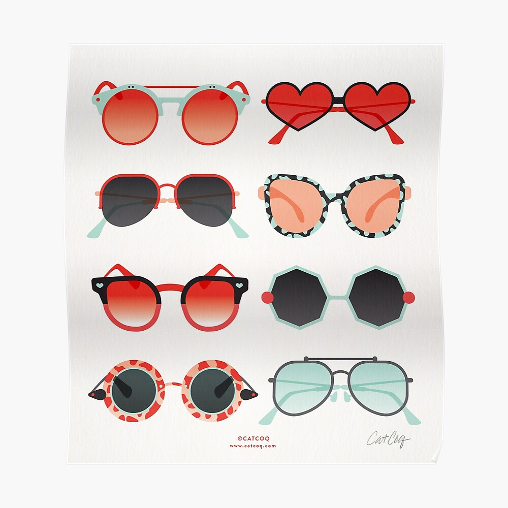 Sunglasses Collection – Red & Mint Palette Poster