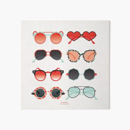 Sunglasses Collection – Red & Mint Palette Art Board Print