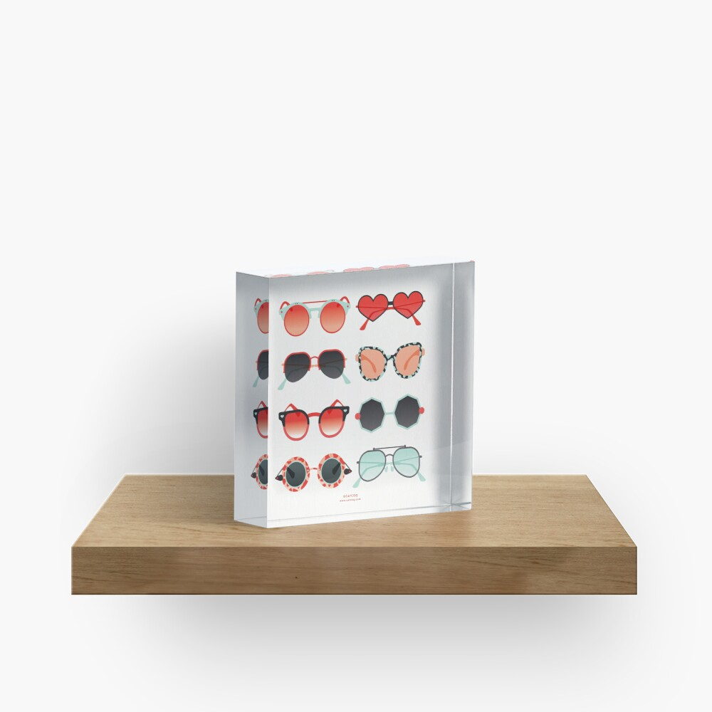 Sunglasses Collection – Red & Mint Palette Acrylic Block