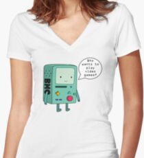 Video Game Beemo (BMO) Women's Fitted V-Neck T-Shirt