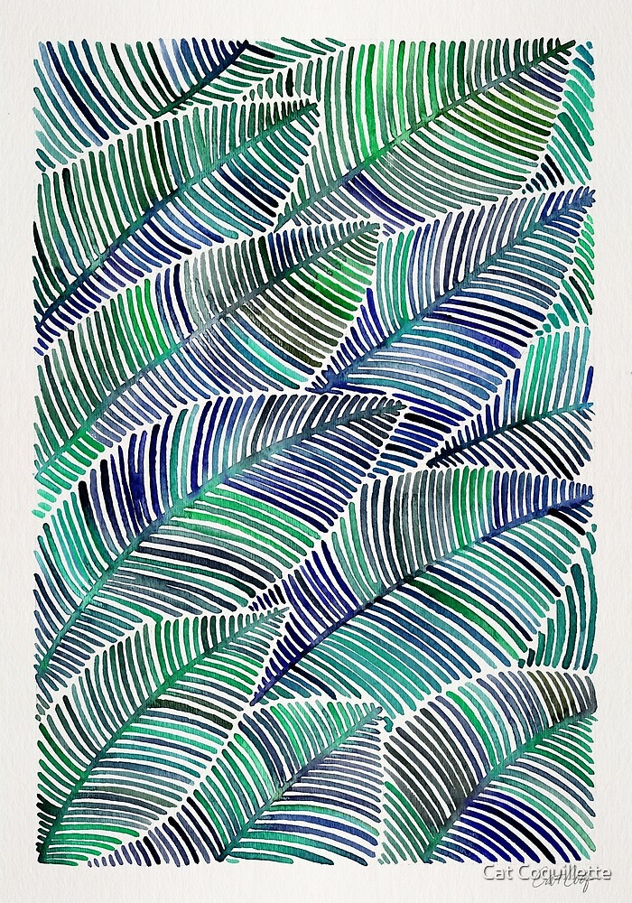 Tropical Leaves – Blue/Green Palette by Cat Coquillette