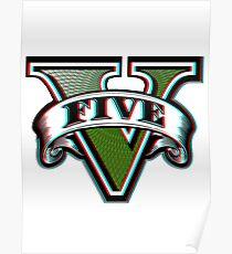 Gta V Logo 3D Style Poster