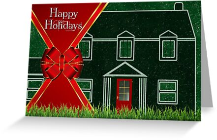 Red and Green Happy Holidays Red Ribbon House by Doreen Erhardt