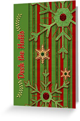 Deck the Halls Green and Red Stripes Snowflakes by Doreen Erhardt