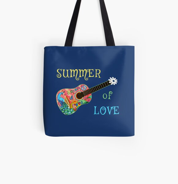 Summer of Love Hippie Peacock Guitar  All Over Print Tote Bag