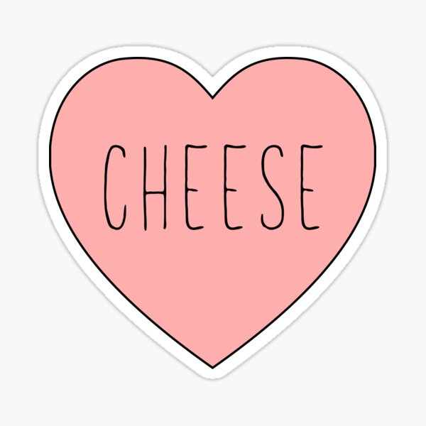 I Love Cheese Pink Heart    Yellow Variant Sticker