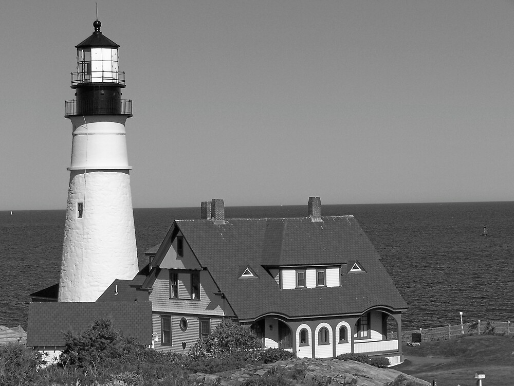 Lighthouse In Black & White by Gene Cyr