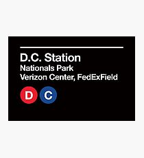 Washington D.C. Pro Sports Subway Sign Photographic Print