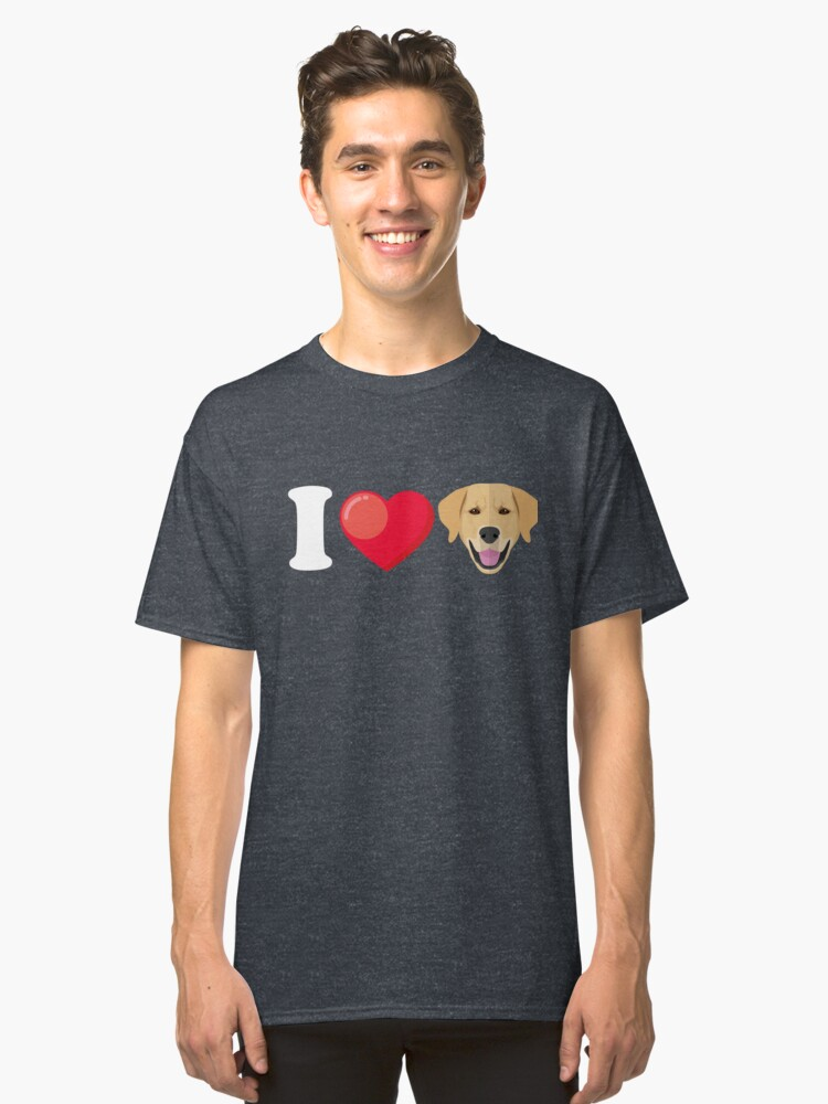 I Love Golden Retriever Classic T-Shirt Front