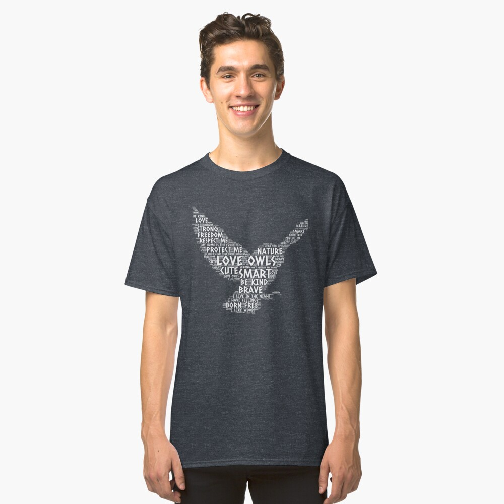 Words Love Owls Classic T-Shirt Front