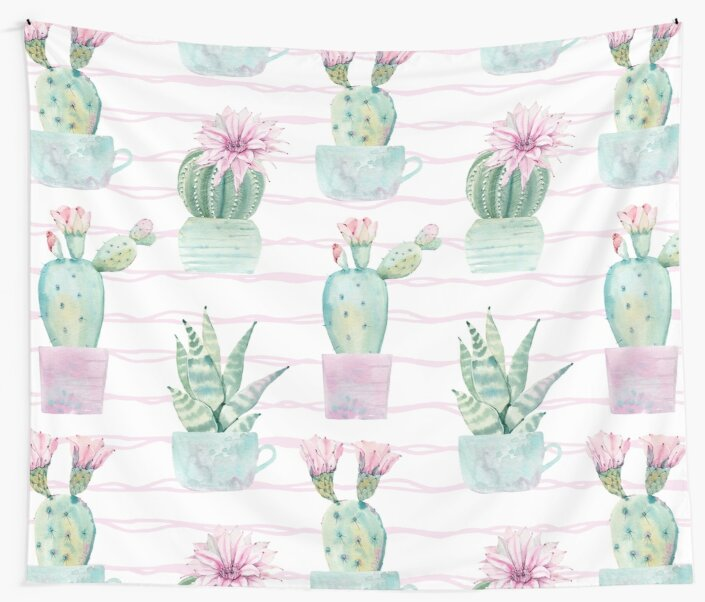 Pretty Succulents Pink and Green Desert Potted Succulent Waves Pattern by DesertDecor