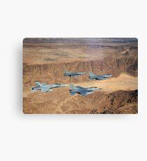Military planes flying over the Wadi Rum desert in Jordan. Canvas Print