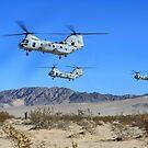 CH-46E Sea Knight Transporthubschrauber fliegen über Camp Wilson. von StocktrekImages