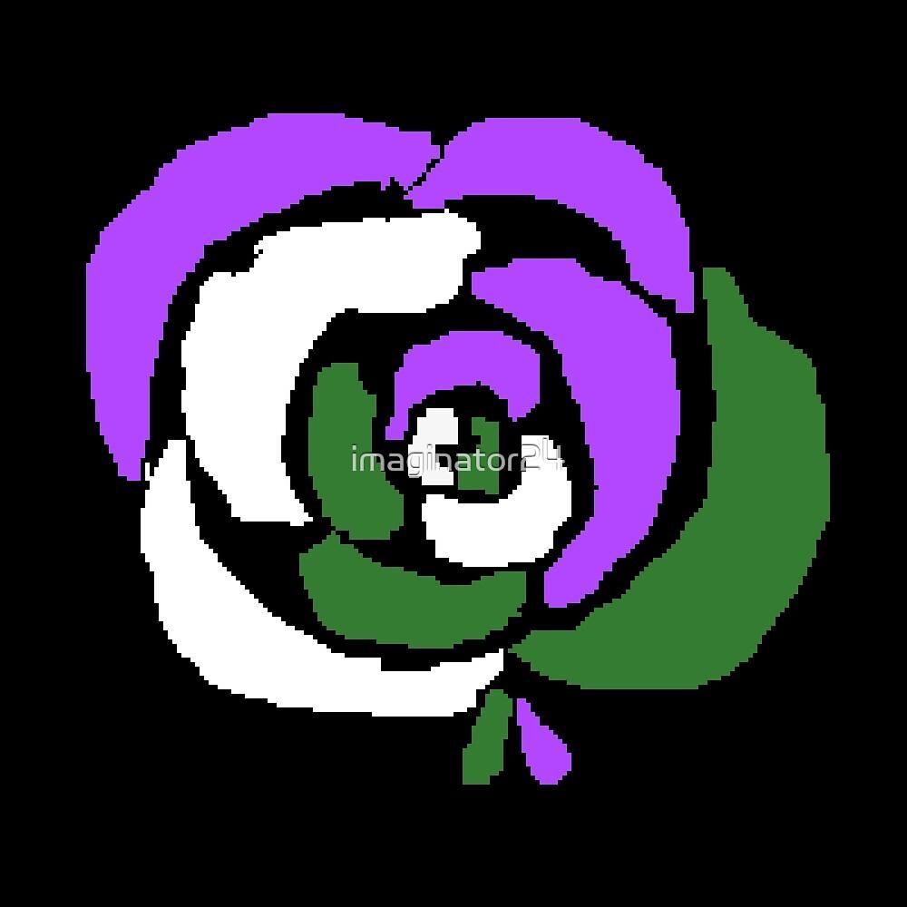 Genderqueer Pixel Rose by imaginator24