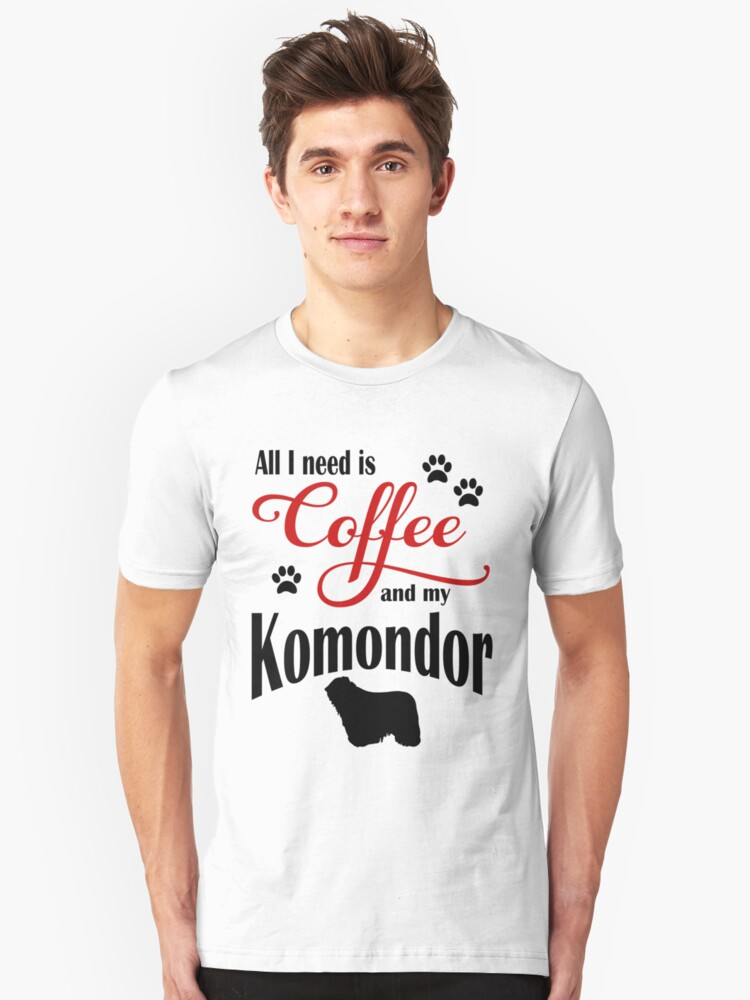 Coffee and my Komondor Unisex T-Shirt Front