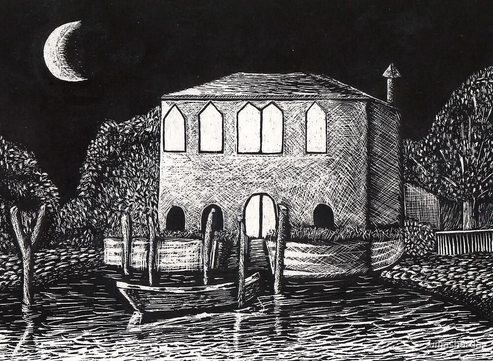 A Scene in Venice ( etching) by umasharda