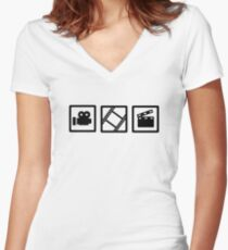 Film movie reel clapper camera Women's Fitted V-Neck T-Shirt