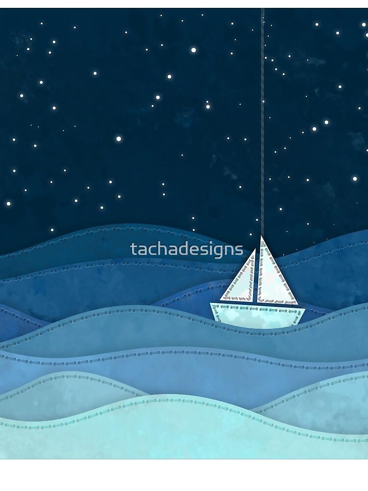 The Night Ocean Parade. Nautical Yacht Starry Night Digital Fabric Illustration. by tachadesigns