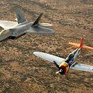 Ein P-47 Thunderbolt aus der Zeit des Zweiten Weltkriegs und ein F-22A Raptor fliegen in Formation. von StocktrekImages