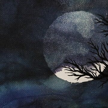 Full Moon with Tree on Canvas by emederart