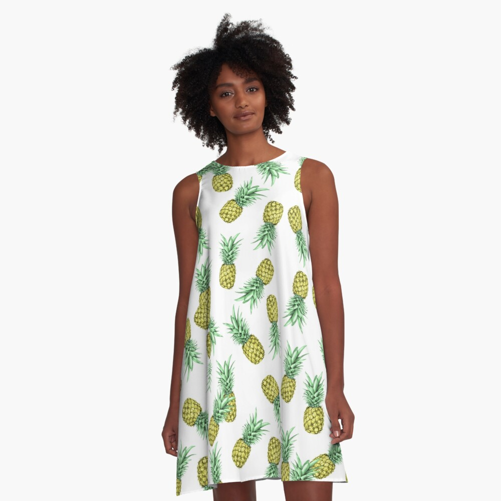 Pineapples pattern A-Line Dress Front