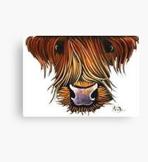Scottish Highland Cow ' VINCENT ' by Shirley MacArthur Canvas Print