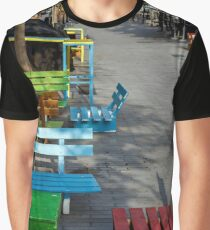 Multi-colored benches on the pedestrian zone no people Graphic T-Shirt