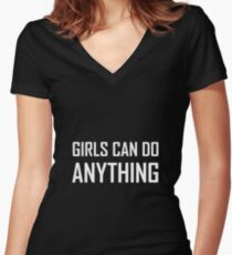 Girls Can Do Anything Women's Fitted V-Neck T-Shirt