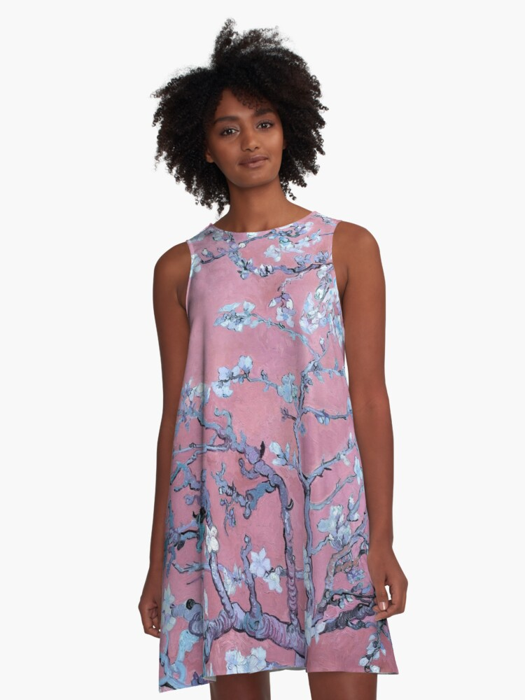 """Van Gogh's """"Almond blossoms"""" with pink background A-Line Dress Front"""