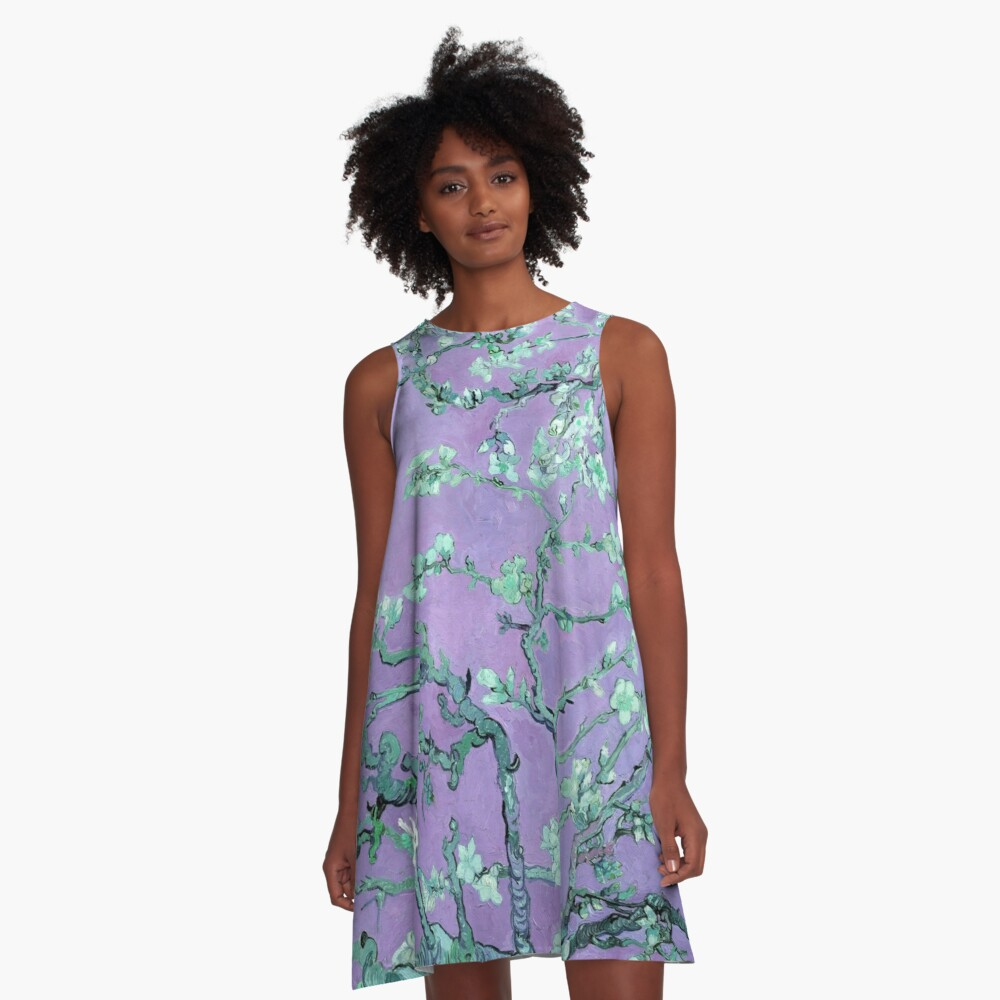 "Van Gogh's ""Almond blossoms"" with purple background A-Line Dress Front"