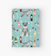 Schnauzer dog breed wine champagne cocktails cute gifts for dog lover Hardcover Journal
