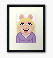 Miss Piggy The Muppets Pixel Character Framed Print
